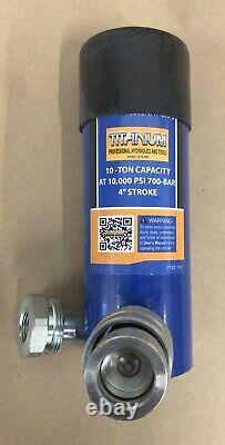 10 Ton 4 Inch Stroke Hydraulic Ram Cylinder Flat Bottom Hi Quality Rebuildable