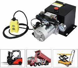 12V 8L Double-Acting Hydraulic Pump Power Unit Dump Trailer withPressure Gauge US