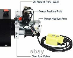 12V Hydraulic Power Unit Double Acting with Pressure Gauge Hydraulic Pump 8 Quart