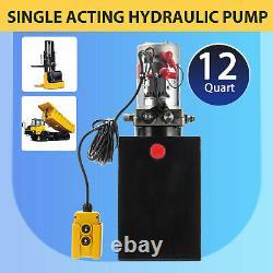 12 Quart Single Acting Hydraulic Pump 12V DC Dump Trailer Metal Reservoir
