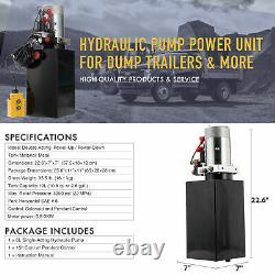 12 Volt Double Acting Hydraulic Pump 12v Dump Trailer 10 Quart Metal Reservoir