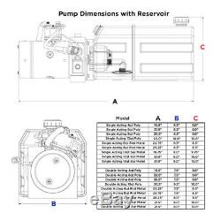 12 Volt Hydraulic Pump for Dump Trailer 10 Quart Steel Single Acting