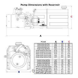 12 Volt Hydraulic Pump for Dump Trailer 6 Quart Poly Single Acting