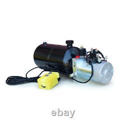 12 Volt Hydraulic Pump for Dump Trailer 8 Quart Steel Single Acting