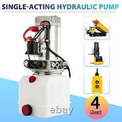 4 Quart Single-Acting Hydraulic Pump Dump Trailer 12V Power Unit Unloading