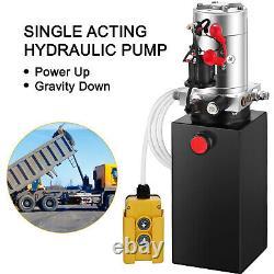 6 Quart Single Acting Hydraulic Pump Dump Trailer Unit Pack Metal Power Unit