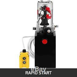 DC 12V Volt 6 Quart Single Action Hydraulic Pump Power Unit Dump Trailer