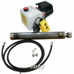 Flowfit Hydraulic 24V DC single acting trailer kit to lift 7.7 Tonne, 600mm cyli
