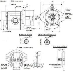 Hydraulic Gear Pump 28cc/rev 18.4gpm @ 2500rpm 3625psi 5/8 Key Shaft SAE A CW