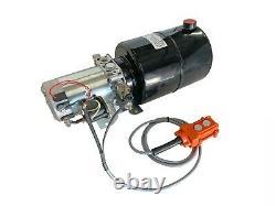 Hydraulic Pump Power Unit Single Acting 12V DC Dump Trailer 6 Quart with Remote