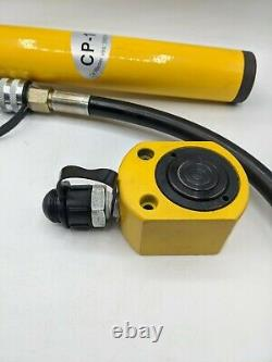NEWTRY 10 ton Low Profile Hydraulic Jack Cylinder + Hand Pump Stoke 26mm(1 inch)