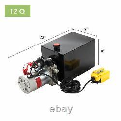 PREENEX Single Acting Hydraulic Pump 12v Dump Trailer 12 Quart Metal Reservoir