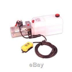 Single Acting 12V DC Hydraulic Pump Power Pack Up Down Supply 6 Quart Tank DC26