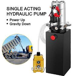 VEVOR 10 Quart Single Acting Hydraulic Pump Dump Trailer Lifting Crane Reservoir