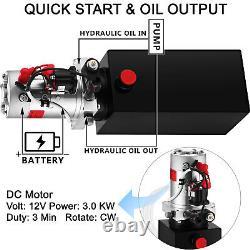 VEVOR 6 Quart Single Acting Hydraulic Pump Dump Trailer Iron Lifting Power Unit
