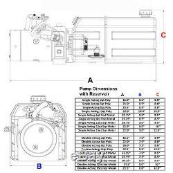 12 Volt Pompe Hydraulique Pour Dump Trailer 13 Pintes Poly Simple Effet
