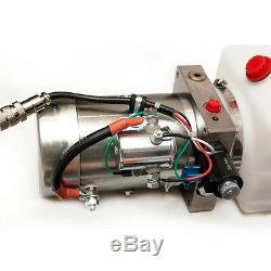 12 Volt Pompe Hydraulique Pour Dump Trailer 6 Pintes Poly Simple Effet