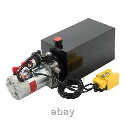12 Volt Remorque À Pompe Hydraulique À Action Unique 10 Quart Réservoir En Métal