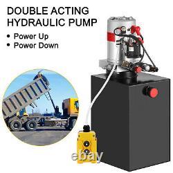 15 Quart Double Acting Hydraulic Pump Dump Trailer Unit Pack Remote Crane