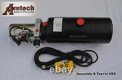 3208c Unité Alimentation Hydraulique, Pompe Hydraulique, 12v Simple Effet, 8qt, Dump Trailer