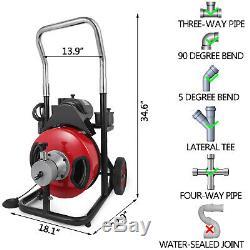 50ft X 1/2 Électrique Drainer Auger Dégorgeoir Machine 370w Serpent 2 Sets Cutter