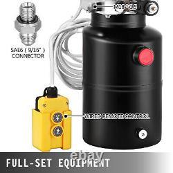 6 Quart 12v Single Acting Hydraulic Pump Dump Trailer Remote Car Control Kit (en Français)