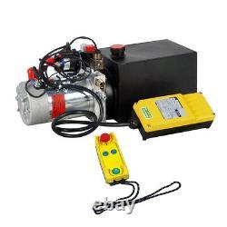 6 Quart Double Acting Hydraulic Pump 12v Dump Trailer + Télécommande Sans Fil