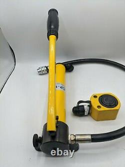 Newtry 10 Tonnes Low Profile Hydraulic Jack Cylinder + Hand Pump Stoke 26mm (1 Pouce)