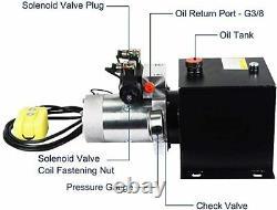 Nouveau 8 Quart Double 12v Pompe Hydraulique Par Intérim 3200 Psi Max. Unité Hydraulique