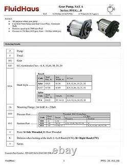 Pompe Hydraulique 28cc/rev 18.4gpm @ 2500rpm 3625psi Spline Shaft Sae A Ccw