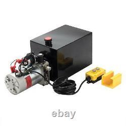 Pompe Hydraulique À Action Unique 12 Quart 12v DC Remorque Réservoir De Métal Bhm
