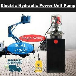 Pompe Hydraulique Simple Effet 12 Pintes 12v DC Dump Trailer Métal Réservoir