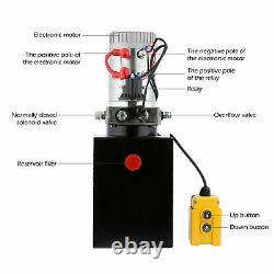 Remorque À Décharge D'unité De Puissance De Pompe Hydraulique À Action Unique Dc12v De 8 Litres À Débit Unique