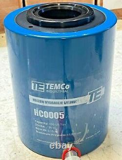 Temco Hollow Hydraulic Cylinder Ram 100 Ton 3 En Avancement Garantie 1 Année