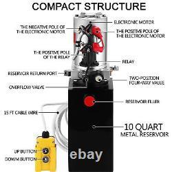 Vevor 10 Quart À Une Seule Pompe Hydraulique À Décharge Remote De Levage De La Grue